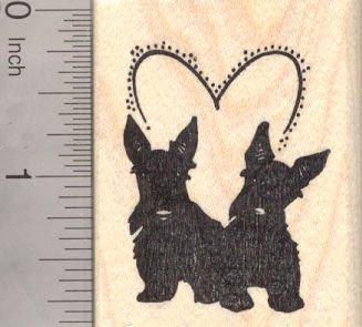 Valentine's Day Scottish Terrier Dog Rubber Stamp, Scottie Pair with Heart