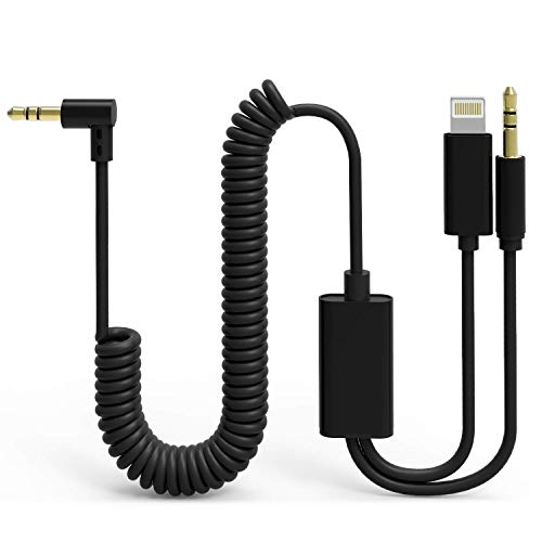 - UNOOE Car Aux Cord Compatible for iPhone 7/8 / X, [2 in 1 iOS & Android] iPhone 8/7 Aux Cord for Car Tangle-Free Coiled Aux Cable iPhone 3.5mm Audio Jack Adapter for Headphones Speakers Home Stereo