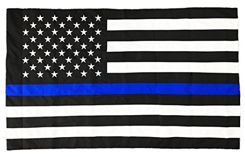 Pointview Flags 3 x 5 Ft Thin Blue Line American Flag (Pole Sleeve) Outdoor DuraSleek Nylon (Sewn Stripes & Embroidered Stars), Law Enforcement