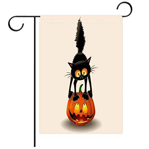 BEISISS Double Print Garden Flag Outdoor Flag House FlagBannerHalloween Decorations Black Cat on Pumpkin Spooky Cartoon Characters Halloween Humor Art Ordecorated for Outdoor Holiday Gardens -