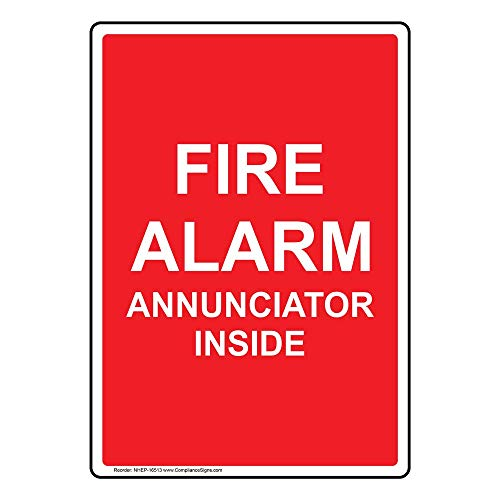 Fire Alarm Annunciator Inside Sign, 14x10 inch Glow-in-Dark Aluminum for Fire Safety/Equipment by ComplianceSigns - Fire Alarm Annunciator Panel