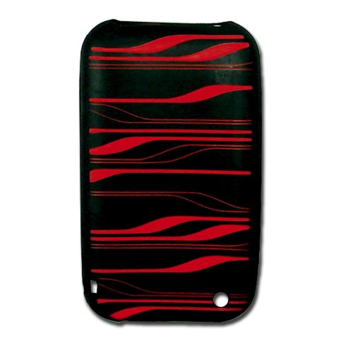 CellAllure Black Silicone Cellphone Protector with Red De...