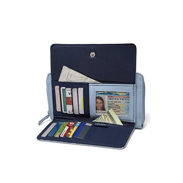 Nautica Bulk Cargo Womens RFID Wallet Clutch Zip Around Organizer Blue Nautica