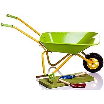 Children's Green Metal Wheelbarrow + Tools & KneePad