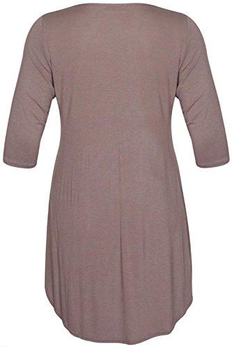 New Womens Plus Size Uneven Dip Hem Long Tunic Tops, Mocha, EU 54-56
