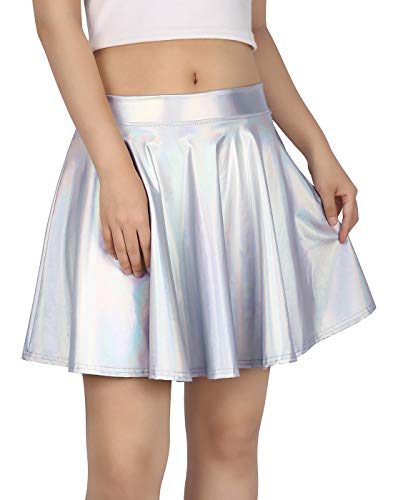 HDE Women's Casual Fashion Flared Pleated A-Line Circle Skater Skirt (Holographic, Medium)]()