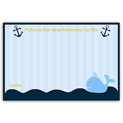 Nautical, Boys, Baby Shower, Whale, Advice For Mommy, Mom to Be, Blue, Navy, Yellow, Sailboat, 24 Printed Advice for the Mommy to Be Cards, Baby Shower Game, Anchors Away