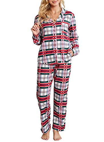 Women Button Down Pajama Sets Cotton Jersey Long Tops and Pants Pjs Loungewear Nightwear