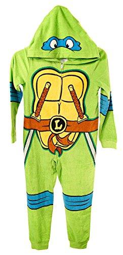 Teenage Mutant Ninja Turtles Boy's Deluxe Hooded Fleece Pajama Sleeper (10) (Ninja Armor Body Suits)