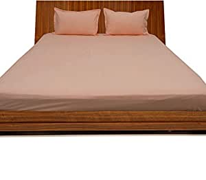 Brightlinen Peach Double (135 X 190 Cm) Fitted Sheet Solid(pocket Size: 34 Cm) 3pcs
