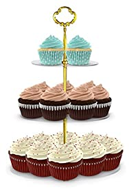 Utenlid Acrylic 3-Tier Round Stacked Party Cupcake Stand with Stable Screw-On Gold Pillars - Tiered Cupcake Stand / Cupcake Tower