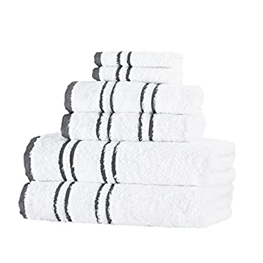 Luxury 100 percent Turkish Cotton 6-Piece Towel Set: 2 Bath Towels, 2 Hand Towels, 2 Washcloths, Imported, Machine Washable, Soft & Absorbent, Grey & White Color, by E & B Home
