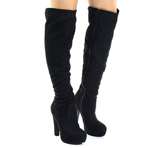 Knee High, Platform Heel Dress Boots w Back Slit & Side Zipper Black