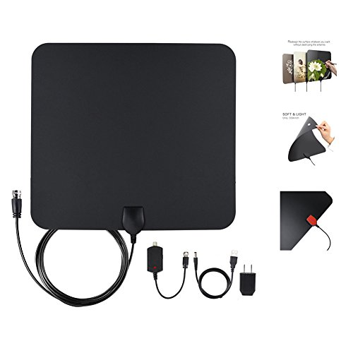 TV Antenna- Indoor Digital Antenna with Amplifier - 50 Mile Range High Performance Digital HDTV Antenna to view Free Local Channels - with 13-Feet (Black)