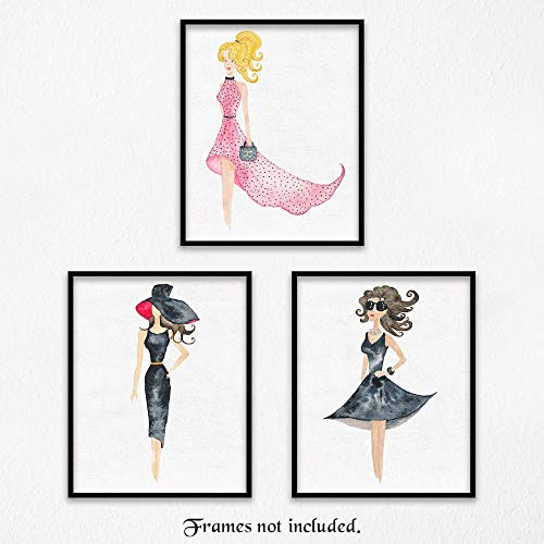 French Fashion Girls Art Poster Prints - Set of 3 (Three) Photos - 8x10 Unframed - Great Wall Art Decor Gifts Under $20 for Bathroom, Nursery, Teen and Girl Room, -