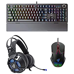Redgear Cosmo 7.1 USB Gaming Headphones with Redgear A-15 RGB Gaming Mouse & Redgear Shadow Blade Mechanical Keyboard