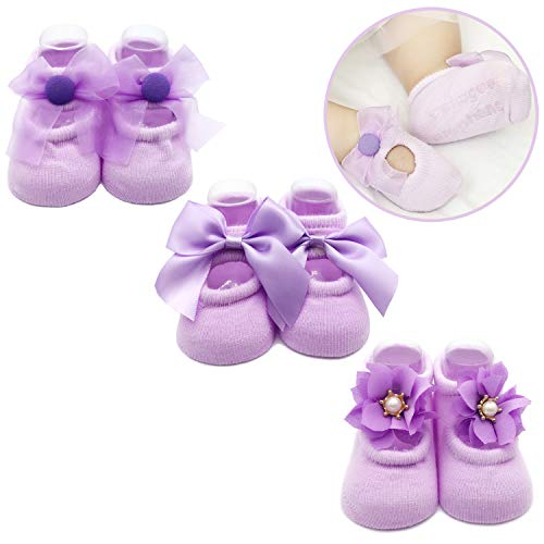 (Elesa Miracle Non-skid Baby Girl Toddler Mary Jane Socks, Newborn Baby Photography Props Anti Slip Flower Pearl Bownote Socks Value Set in Gift Box (S for 0-6 Months, Lavender))