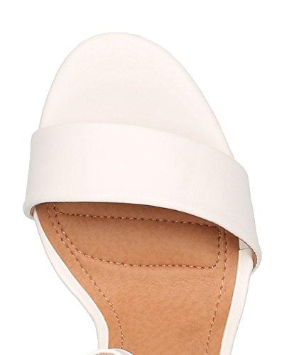 Alrisco Kvinnor Läder Blockera Häl Sandal - Bröllop, Formellt, Dressy - Ankelbandet Häl - Ge44 Av Vit