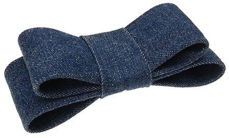- L. Erickson USA Wide Couture Bow Barrette - Dark Denim