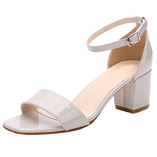 Vogstyle Damen Sommer Schuhe Blockabsatz Peep Toe Mehrfarbe Knöchelriemchen Schnalle Party Sandalen Style 3-Hellgrau