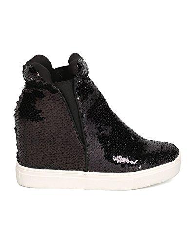 CAPE ROBBIN Women Sequin High Top Hidden Wedge Sneaker GB22 - Black (Size: 11) by CAPE ROBBIN (Image #1)