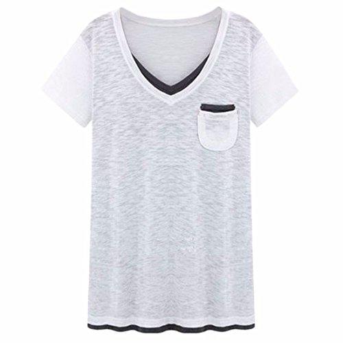 QIYUN.Z Tamano De Las Mujeres Blusas De Manga Corta Camisetas De Cuello V Muchachas Del Verano Ocasional XL-5XL Blanco