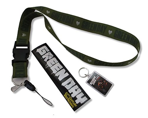 Price comparison product image Green Day 3 pc Heart Grenade Lanyard, Keychain and Sticker Pack Gift Set