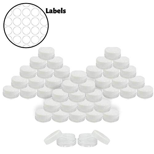 Houseables 3 Gram Jar, 3 ML Jar, 50 pcs, BPA Free, Cosmetic Sample Empty Container, White, Plastic, Round Pot White Screw Cap Lid, Small Tiny 3g Bottle, for Make Up, Eye Shadow, Nails, Powder, Jewelry