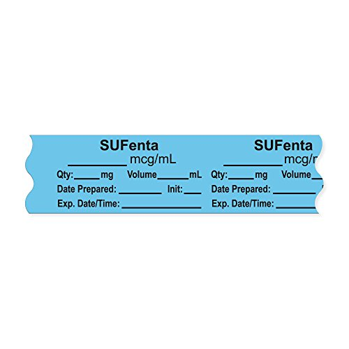 PDC Healthcare AN-2-147 Anesthesia Tape with Exp. Date, Time, and Initial, Removable, ''SUFenta mcg/mL'', 1'' Core, 3/4'' x 500'',333 Imprints, 500 Inches per Roll, Blue (Pack of 500) by PDC Healthcare (Image #1)