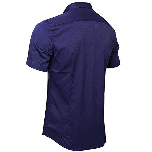 Formel Hommes Ajustée Fibre Inflation Bleu Chemise Homme T Marine Pour shirt Manches Courtes En De Bambou Élastique Taille tqO8wAxq