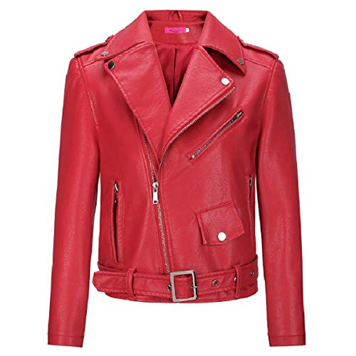 Faux Mini Turn Solid Fitted Down Zipper Women Collar Leather Coat Howme Red Slim Color 0x8Evfwnq