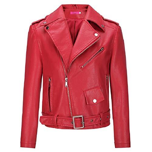 Colore Giù donne Rossa Cappotto Faux Cerniera Di Sottile Pelle Mini Howme Gira Dotato Solido 6WCSn00T