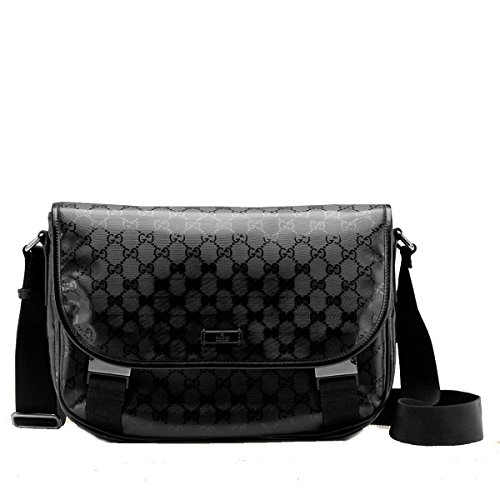 Gucci Black Imprime Flap Closure Messenger Bag 201732