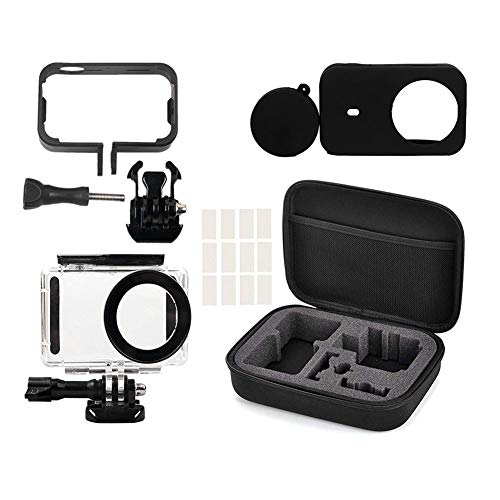 Yifant 5 in 1 Full Protect Kit Storage Carrying Bag for Xiaomi Mijia 4K Mini Action Camera Includes 148ft / 45M Underwater Diving Case Side Frame Cover Silicone Shell Anti-Fog Inserts Protective Expan