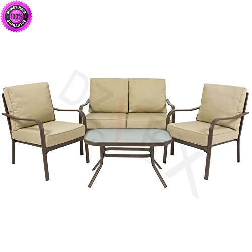 DzVeX 4 Piece Cushioned Patio Furniture Set Loveseat, 2 Chairs, Coffee Table Beige And outdoor items for sale yard and garden show portland yard and garden show vancouver wa garden nursery vancouver