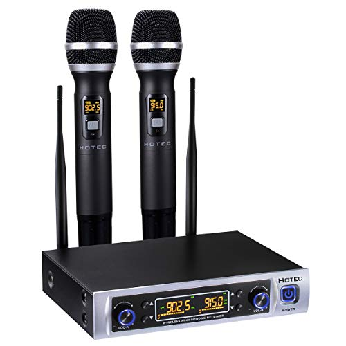 - Hotec 64 Channel Dual UHF Wireless Microphone System, Long Distance 150-200Ft, 16 Hours Continuous Use, Over PA, Mixer, Speaker, Karaoke Machine For DJ, Church, Home, Karaoke, Business Meeting (H-K26)