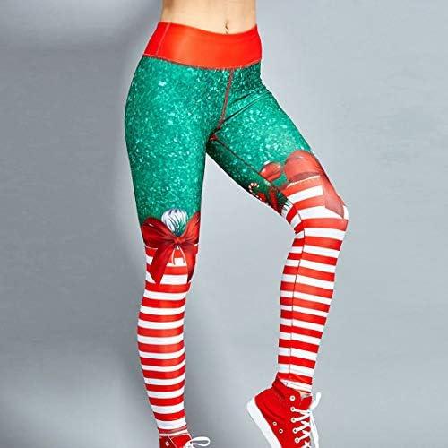 Shujin Damen Weihnachten Leggings in verschieden Weihnachtsmotiv Druck Jeggings Hose Casual Streetwear Skinny Pants Stretch Yoga Leggings