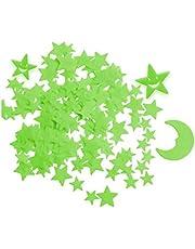 Zueyen 212pcs Glow in the Dark Stars-stickers voor plafond, zelfklevende 3D-gloeiende sterren en maan voor kinderen Kinderkamer, lichtgevende sterrenstickers Creëer een realistische sterrenhemel, kamerdecor, muurstickers