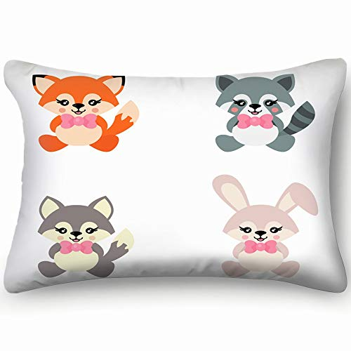 best bags Cartoon Cute Bunny Wolf Fox Raccoon Animals Wildlife Animal Nature Skin Cool Super Soft and Luxury Pillow Cases Covers Sofa Bed Throw Pillow Cover with Envelope Closure 1624 Inch