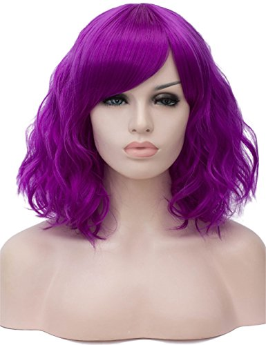 Neon Purple Wig (TopWigy Purple Cosplay Wig Medium Length Side Part Bang Curly Body Wave Colorful Synthetic Hair Wigs Costume Party Bob Women Full Wig (Purple)