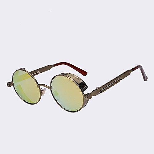 Steampunk de armadura Gafas de alta polarizadas Gótico hombres de marca metálica calidad diseñadores gafas sol de redonda latón Brass El C5 w de gafas sol C5 de gold w dorado UV400 TIANLIANG04 4xw04