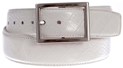 PGA TOUR Men's Croc Embossed Leather Belt with Silver Tone Buckle (White, (Faux Crocodile Belt)