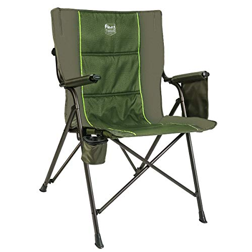 (Timber Ridge Camping Folding Quad Chair Support 300lbs with Carry Bag Outdoor Lightweight, Padded Armrest, Cup Holder)