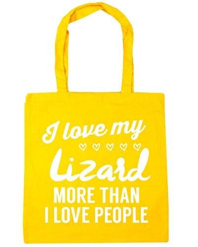 HippoWarehouse I Love My Lagarto más de I Love People Tote Compras Bolsa de playa 42cm x38cm, 10litros amarillo