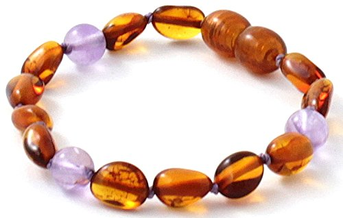 BoutiqueAmber Baltic Amber Teething Bracelet / Anklet Made with Amethyst Beads - Size 5.5 inches (14 cm) - Polished Cognac Amber Beads (5.5 inches)