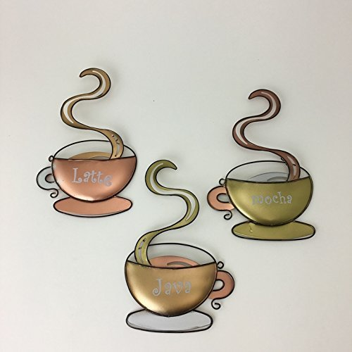 3 SET Metal Coffee Cup Wall Decor Latte Java Mocha Mug