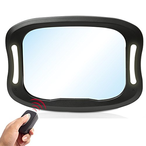 LED Car Back Seat Mirror by JOYREN - Shatterproof Rear Facing Car Seat Mirror Baby in Sight Car Mirror