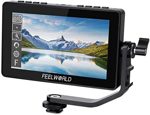 FEELWORLD F5 Pro 5.5 Inch Field Monitor 4K 1920x1080 DSLR HDMI Touch Scree Camera IPS FHD Power Kit to Wireless Transmission Video Assist 5V Type-C Input Tilt Arm (with Battery and Charger)