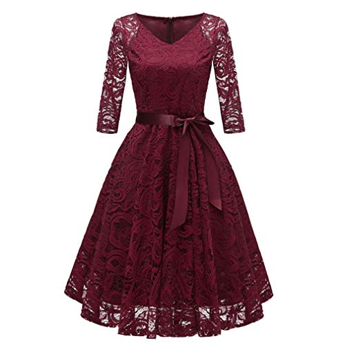 Todaies Women Lace Dress Women Vintage Princess Dress Floral Cocktail V-Neck Party Aline Swing Dress (L, Wine)