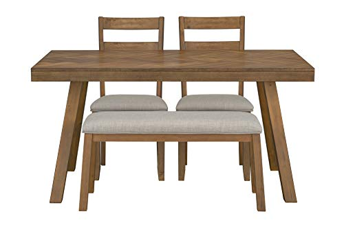 Ready To Live Caswell Dining Set with Bench, Height, Light Brown - CONVENIENTLY APPROACHABLE: Artfully made with families in mind, this compact four piece set with a bench is perfect for the dine-in kitchen. READY TO LIVE: Herringbone designed tabletop. Flared legs. Two ladder back upholstered chairs. One upholstered bench. Light grey upholsterey. Walnut brown finish. FURNITURE UNBOXED: Furniture at Ready to Live is designed and manufactured to be dependable, accessible, and adaptable to any style. - kitchen-dining-room-furniture, kitchen-dining-room, dining-sets - 41ttwu33LyL -